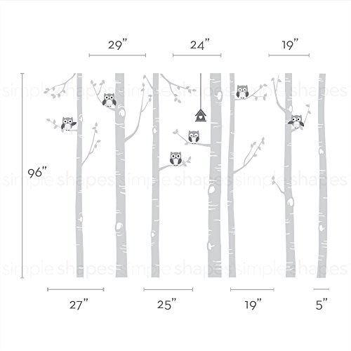 Simple Shapes Birch Tree with Owl Wall Decal - Scheme B - 96'' (243 cm) Tall Trees by Simple Shapes (Image #1)