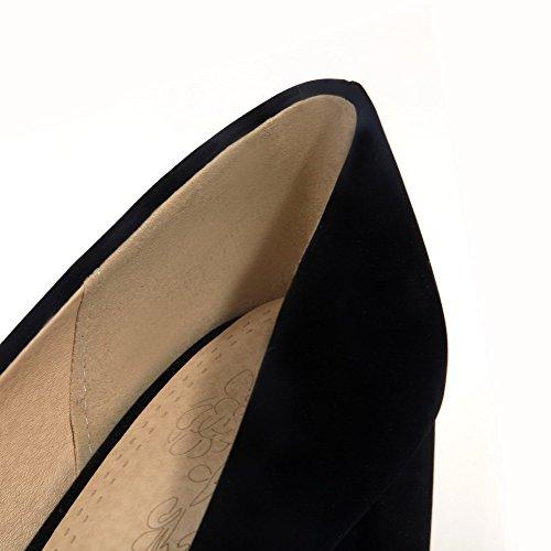 VogueZone009 Damen Ziehen auf Mittler Absatz Nubukleder Rein Rund Zehe Pumps Schuhe Schwarz