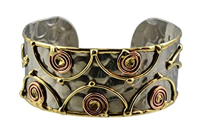 Anju Thin Stainless Steel Cuff Bracelet with Copper Swirls