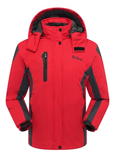 Ubon Women's Waterproof Windproof Fleece Ski Jacket Warm Snowboarding Sportswear(Red,US M)