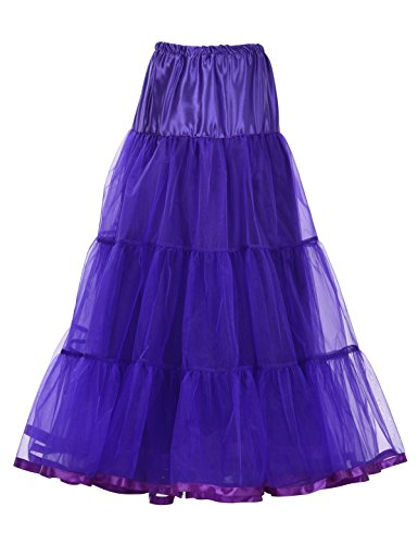 Remedios Ankle Length Bridal Wedding Petticoat Formal Dress Slip Long Crinoline,Purple,S-M -