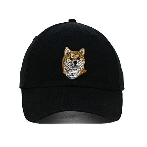Shiba Inu Head Dogs Pets Embroidery Twill Cotton 6 Panel Low Profile Hat (Dog Head Embroidery)