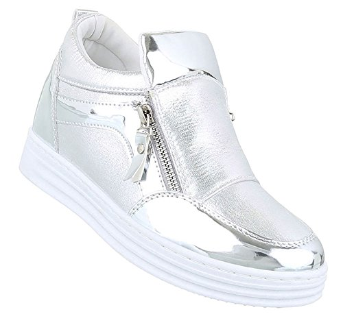 Damen Sneakers Schuhe Freizeitschuhe Silber 37 cbOKjqmX
