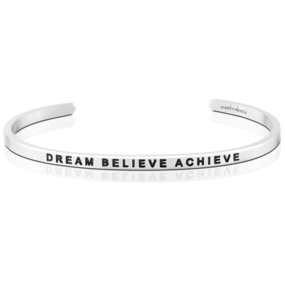 MantraBand Bracelet - Dream Believe Achieve - Inspirational Engraved Adjustable Mantra Cuff - Silver - Gifts for Women (Grey)