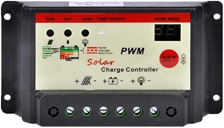 Heman779t 5A 12 V / 24 V Solarladeregler Solarregler,Solarladegerät Ladesteuergerät Stromanzeige LCD-Solarpanel,Überlastungsschutz Temperaturkompensation