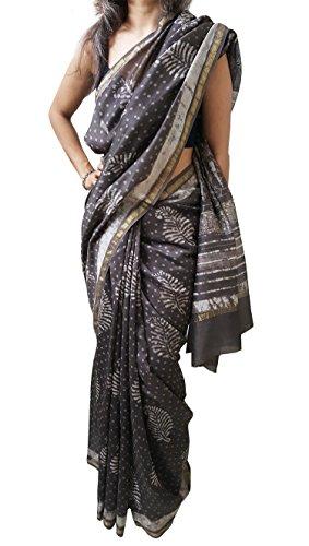 Mehrunnisa BAGRU MAHESHWARI Cotton Silk Saree with Blouse Piece from Jaipur (Brown Leaf & Dots) ()