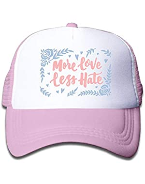 More Love Less Hate 1 On Kids Trucker Hat, Youth Toddler Mesh Hats Baseball Cap