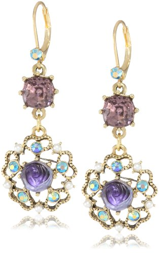 (Betsey Johnson Carved Flower Medallion and Crystal Gem Drop Earrings )