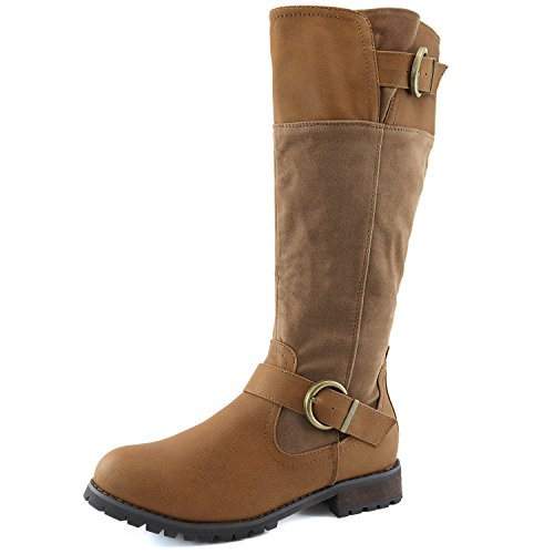 Women's Dailyshoes Double Buckle Military Combat Boots Side Zipper Fashion Shoes, 7.5 by DailyShoes