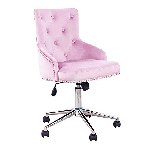 (DMF Furniture Home Office Chair with High Back, Modern Design Velvet Desk Task Chair with Arms in Study Bedroom, Pinkish-Purple)