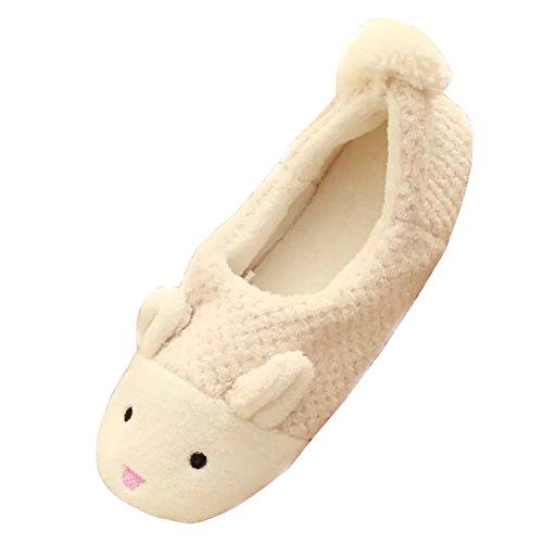 Gaorui Mignon Lapin Filles Garçons Femmes Hommes Doux Chaud Pantoufles Mules Plates Corail Velours Chaussures Beige