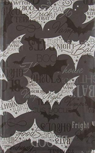 Halloween Black and White Bat Silhouettes Vinyl Flannel Back Tablecloth (52