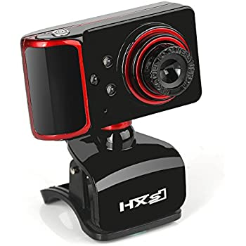 HXSJ 3 LED Webcam 480P HD, S10 Webcam Skype Camera Wide Angle with Microphone USB Plug and Play Web Cam Manual Focus HD Lens