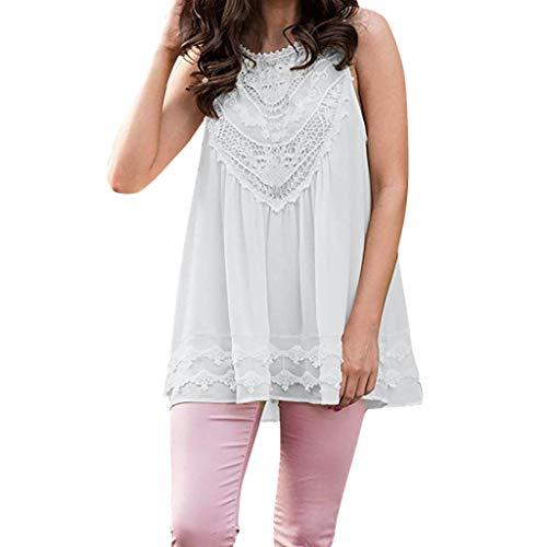 HIRIRI Women's Slim Fit Summer Casual Sleeveless Lace Tops Lace Trim Tunic Tops Chiffon Blouses White