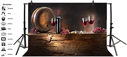 Leowefowa 5X3FT Party Celebration Backdrop Retro Wood Cast Barrel Red Wine Backdrops for Photography Grape Gloomy Wood Floor Autumn Vinyl Photo Background Kids Baby Studio Props
