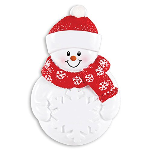 Personalized Snowman with Snowflake Christmas Tree Ornament 2019 - Figure Red Hat Scarf Carrot Nose Gift Grandkid Child Love Sweet Candy Traditional Baby's First Toddler Year - Free Customization