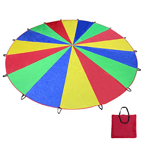 Voilamart Parachute 20 Foot for Kids with 16 Handles Zipper Carry Bag, Play Parachute for Children Tent Picnic Mat Blanket Outdoor Cooperation Group Play ()