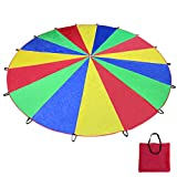 Voilamart Parachute 20 Foot for Kids with 16 Handles Zipper Carry Bag, Play Parachute for Children Tent Picnic Mat Blanket Outdoor Cooperation Group Play