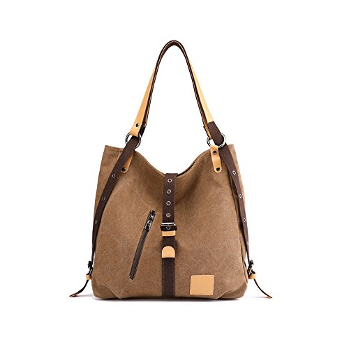 Brown Casual Crossbody Women Bag Tote for Backpack Canvas Casual Multifunctional Shoulder Fashion Bag Travel Mufly Handbag F6IwqZ8qx