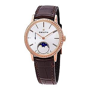 Zenith Elite Reloj automático para Mujer con Esfera Plateada y Diamantes de Luna, 22.2330.692/01.C713 6