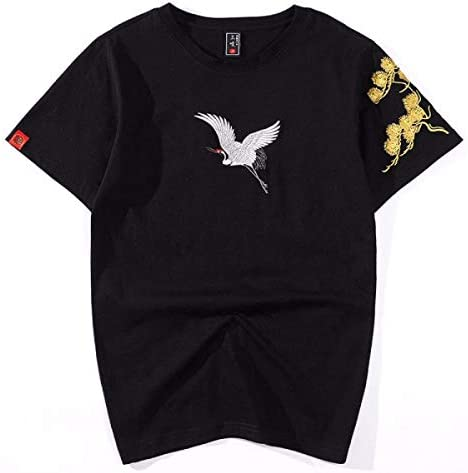 QIROG Pine Embroidery Crane Short T-Black_M