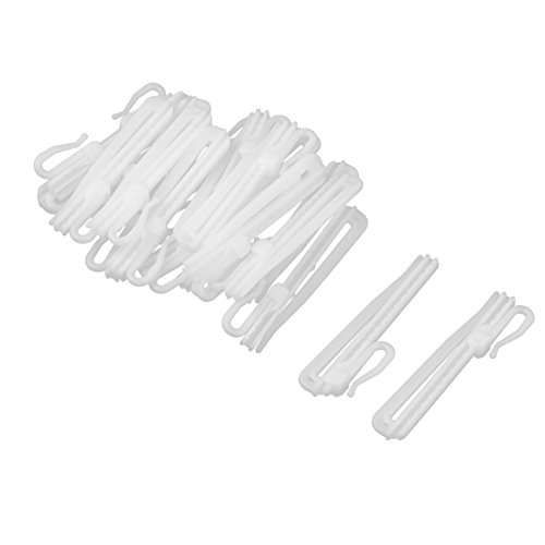 uxcell Home Adjustable Depth Pinch Pleat Locking Curtain Tape Clip Hooks 20pcs White by uxcell