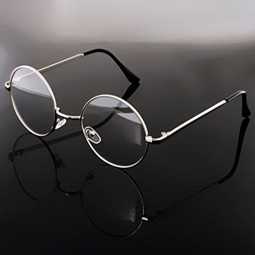 Mode Rond lunettes Métal Pour Lunettes Argent Monture Voyage Fantaisie De Randonnée En Unisexe Magideal 16xqHdff