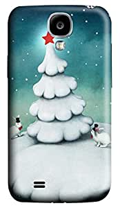 Brian114 Samsung Galaxy S4 Case, S4 Case - 3D Print Pattern Hard Cover for Samsung Galaxy S4 I9500 Bunny With Christmas Tree Extremely Protective Case for Samsung Galaxy S4 I9500
