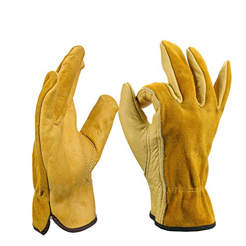 - 2 Pair Leather Work Gloves Men Premium Leathers Drivers Heavy Duty Glove for Gardening Cutting Construction Farm Motorcycle with Elastic Wrist,L