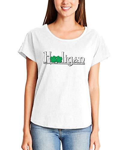 Hooligan - Irish Four Leaf Clover Shamrock Ladies Dolman (White, Large)