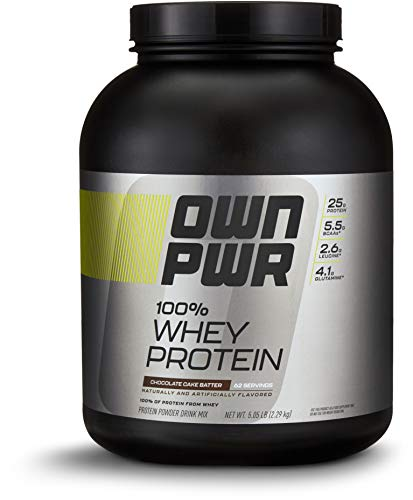 (OWN PWR 100% Whey Protein Powder, Chocolate Cake Batter,  25 G Protein with Enzymes, 5 Pound (62 Servings))