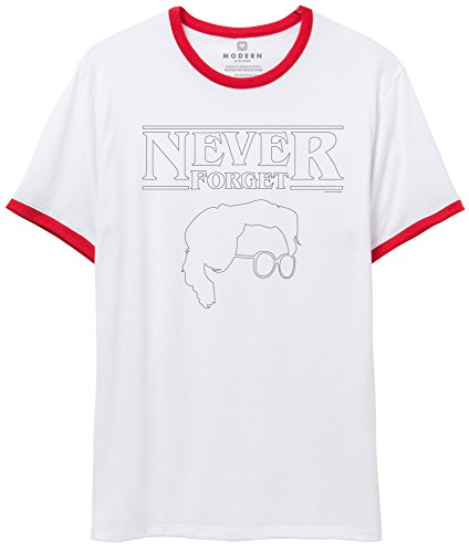 Superluxe Clothing Mens/Womens Unisex Funny Never Forget Barb Nerdy Best Friend Vintage 80s Style Ringer T-Shirt, White/Red, X-Small -