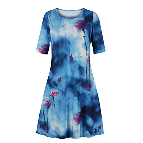 Aotifu Women Short Sleeve Dresses Printing Round Neck Summer Ladies Casual Flared Midi Dress(Blue1,XXXL)