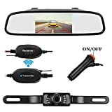 Emmako Backup Camera Wireless and 4.3 Mirror Monitor Kit For Car/RV/SUV/Van IP68 Waterproof Night Vision 9V-24V Parking Camera System Reversing Use With Guide Lines