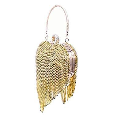 UMREN Women Heart Shape Tassel Evening Clutch Purse Bag Luxury Rhinestones Handbag