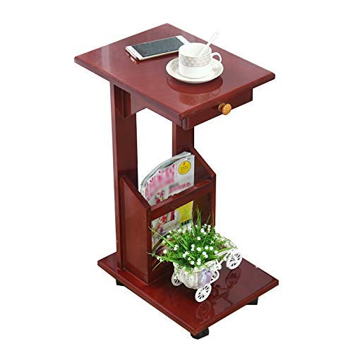 - KSDGQ Side Table Desk End Bedside Snack Coffee Solid Wood Side Sofa Corner It Can Move Small Coffee Table Bedroom Bedside Table (Color : RED, Size : 30 38.5 65cm)