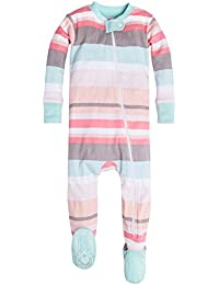 Baby Girls' Organic Stripe Zip Front Non-Slip Footed...