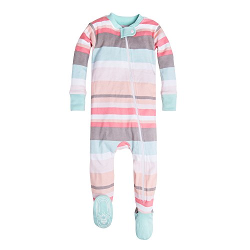Burt's Bees Baby Baby Girls' Organic Stripe Zip Front Non-Slip Footed Sleeper Pajamas, Desert Stripe, 18 (Footed Pajamas Blanket Sleeper)