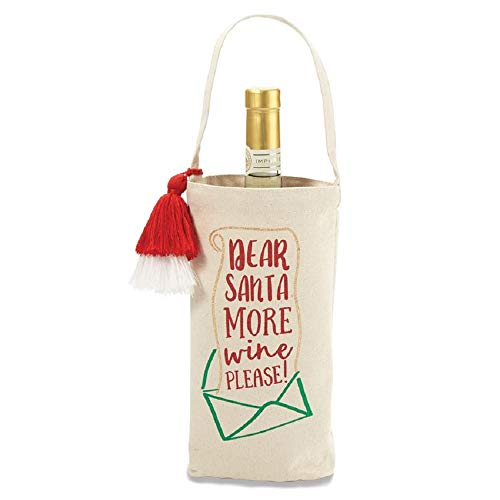 Dear Santa More Wine Please Tassel Canvas Holiday Wine Bag