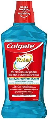 Colgate Total Gum Health Alcohol Free CPC Mouthwash, Clean Mint, 1 L