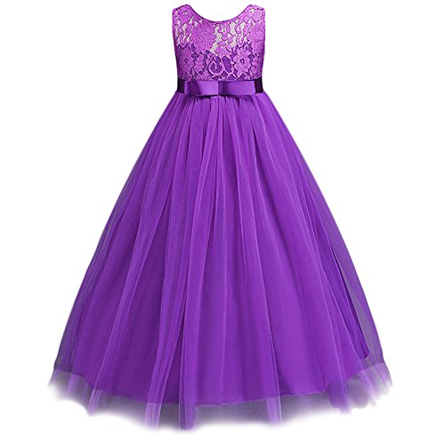 JiaDuo Wedding Flower Girl Dress Bridesmaid Lace Party Maxi Gown Purple 160 (Floor 7 Halloween Special)