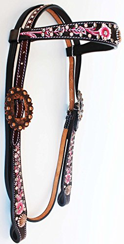 ProRider Horse Show Tack Bridle Western Leather Headstall Rodeo Brown Pink 76209HB02 ()