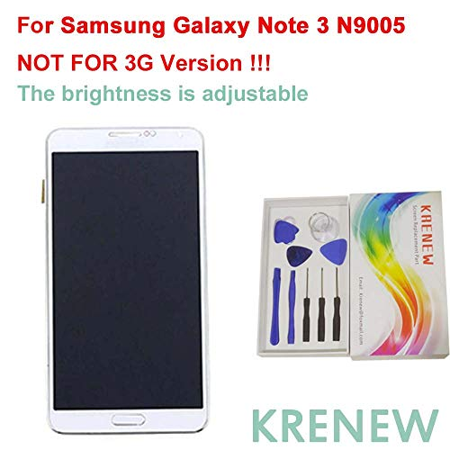 KRENEW Touch Screen Replacement Digitizer Glass LCD Frame Housing & Repair Assembly Kit Samsung Galaxy Note 3 N9005 (White - SM-N9005)