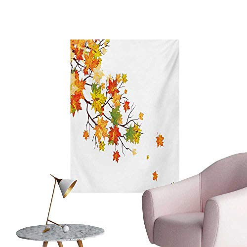 (Anzhutwelve Fall Wall Sticker Decals Fall Image with Canadian Maple Leaves Botanical Foliage Nature Warm to Cold EffectsYellow Orange W20 xL28 Wall Poster)