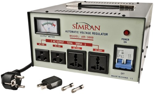 Simran AR-3000 Power Converter Regulator Stabilizer Voltage Transformer, 3000 WATT, Grey ()