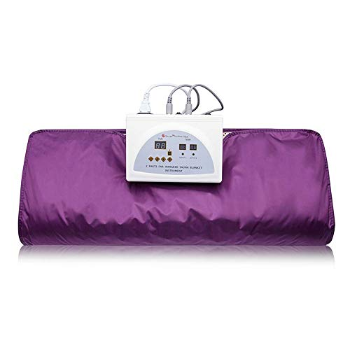 Pettyios Far Infrared Sauna Blanket, 110V 2 Zone Waterproof Detoxification Blanket with Safety Switch Used As Home Sauna for Body Shape Slimming Fitness (Purple)