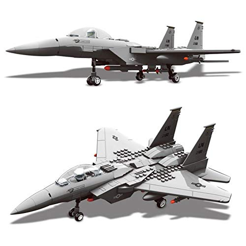HJRHH-R F-15 Eagle Fighter Building Blocks Kit Military Army Set Plane Models Building Bricks Toys for Children