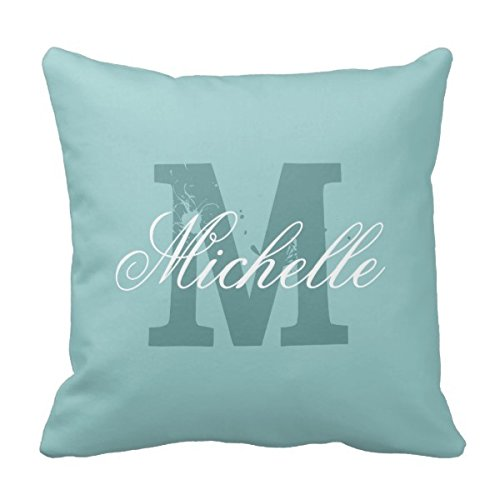 Allforyou 18 X 18 Twin Sides Bedding Pillow Case Home Decoration Square Decorative Cushion Cover Pillowcase Personalized Name Monogram Teal Blue Throw Pillowcase