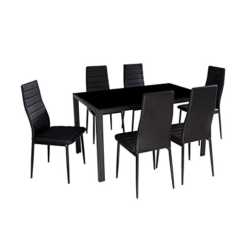 IDS Online 7 Pieces Modern Glass Dining Table Set Faxu Leather With 6 Chairs Black. (Dining Table Seats Extendable 8)