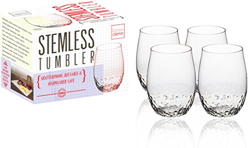 Kitchen Gizmo - Unbreakable Wine Glasses With Hammered Finish 100% Tritan - Set of 4, 16oz Stemless Tumblers. - 16 Oz Stemless Wine Glass
